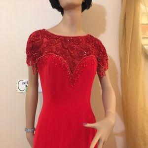 Oleg Cassini Formal Red Beaded mermaid gown